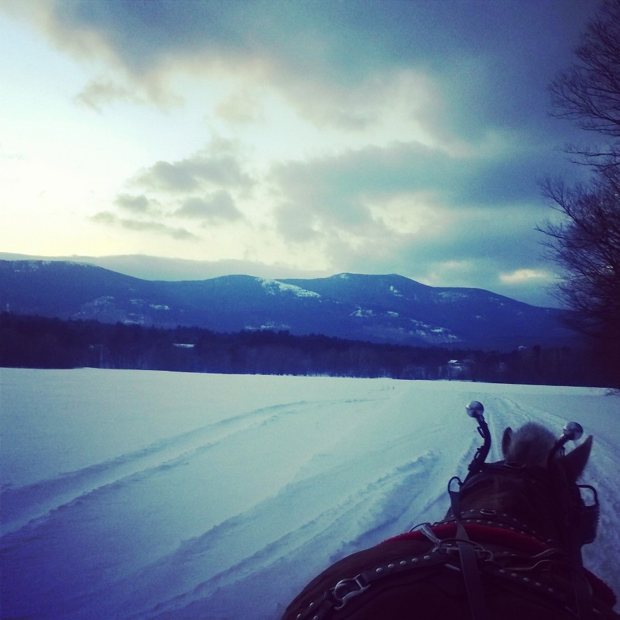 Sleigh ride at dusk-Farm by the River Stables, North Conway, NH