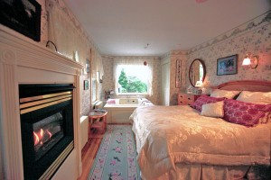 Mrs Carrolls Room -Deluxe room with two-person jacuzzi and fireplace-Farm by the River B and B