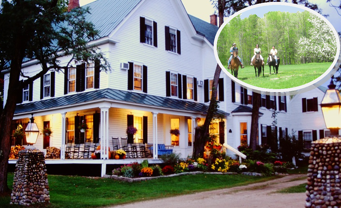 Spring horseback riding and lodging-Farm by the River B and B, in the White Mountains of NH