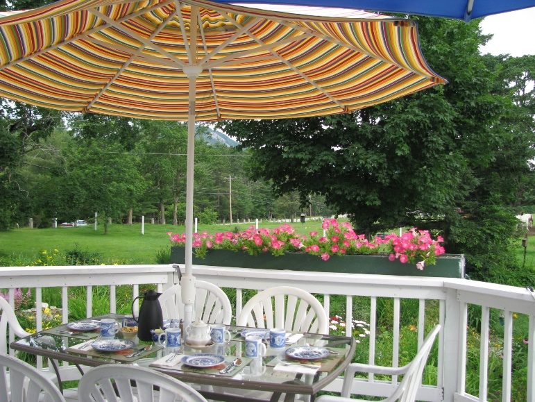 Breakfast on the patio  this spring and summer -Farm by the River Bed and Breakfast