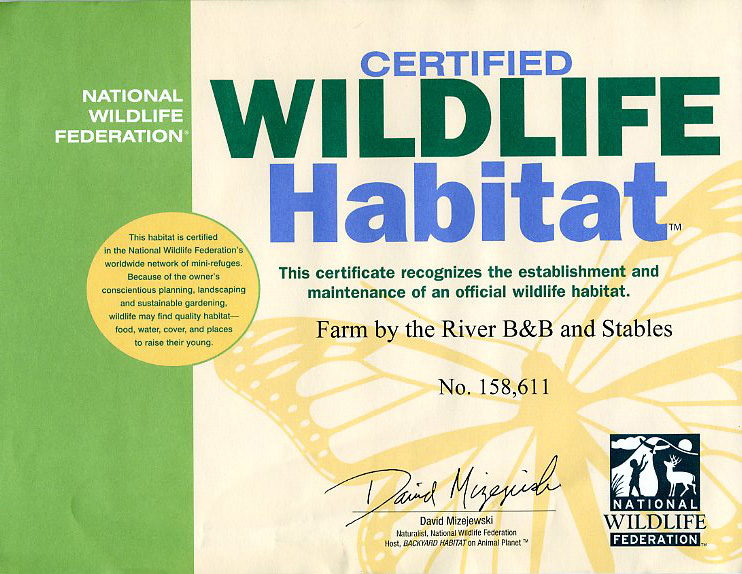 Certified Wild Life Habitat-Farm by the River Bed and Breakfast with Stables